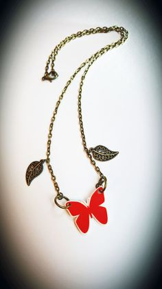 Red Butterfly and Petals, Shrink Plastic Necklace by CorrenAlyssa on Etsy