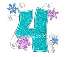 Los copos de nieve número cuatro 4 por AppliquetionStation en Etsy