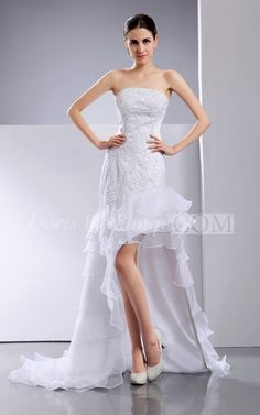 Fantastic Strapless Beaded Layered Hi-Lo Organza Lace Wedding Dress. #lace #weddings #DorisWedding.com