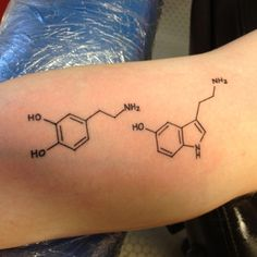 Serotonin And Dopamine Chemistry Equation Tattoo On Arm Sleeve