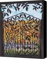 Black Wrought Iron Gate With Silhouette Of Leaves.  Fabric Impressionist Quilt Canvas Prints - Sunflower Garden Gate Canvas Print by Sarah Hornsby