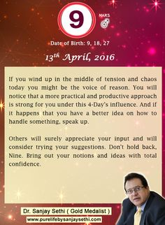 #Numerology‬ predictions for 13th April'16 by Dr.Sanjay Sethi-Gold Medalist and World's No.1 #AstroNumerologist.