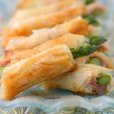 Who can resist the crunchy, salty goodness of phyllo-wrapped asparagus with prosciutto? A great appetizer to bring to a party.