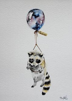 Raccoon and squirrel holding hands attached to balloons like this (love the galaxy) but instead of far far away, do heaven maybe. Definitely want them holding hands