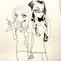 Chapman and Vause ~ Orange is the new Black ~ anime cartoon drawing, black ink Me Anime, Orange Is The New Black, Cartoon Drawings, Disney Art, Caricature, Insta Art, Colored Pencils, Fashion Art, Doodles