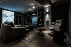 A twilight atmosphere in a contemporary home interior by the Ukrainian design studio YoDezeen. Apartment Interior, Home Interior, Interior Decorating, Decorating Ideas, Apartment Ideas, Home Design, Living Room Designs, Living Room Decor, Dark Living Rooms