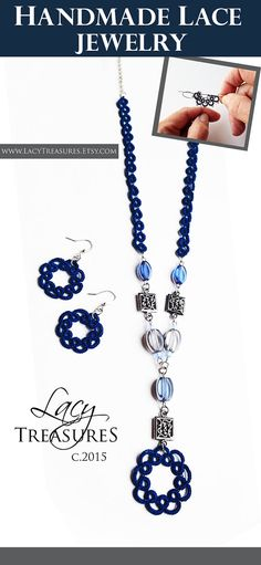 Long Bead Necklace . Handmade LACE pendant . by LacyTreasures