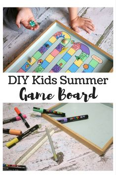 If you're stuck indoors for a while, try making your own DIY board game. Homemade board games are some of the kids favourites! Games To Play With Kids, Activities For Kids, Speech Activities, Holiday Activities, Board Games For Two, Diy Board Game, Game Boards, Kids Board, Homemade Board Games