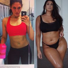 La¿Tecia Thomas, 26, (pictured) presented side-by-side photos of herself in an Instagram post
