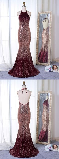 Newest Popular Mermaid Halter Backless Long Sequins Prom Dresses With Train, PD0556 Ombre Prom Dresses, Backless Prom Dresses, Gala Dresses, Mermaid Prom Dresses, Cheap Prom Dresses, 15 Dresses, Homecoming Dresses, Evening Dresses, Formal Dresses
