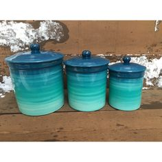 One of a Kind Set of 4 Teal Ombre Ceramic Canister Set With Rubber... ($175) ❤ liked on Polyvore featuring home, kitchen & dining, food storage containers, grey, home & living, ceramic box, teal canister set, food safe storage containers, colorful boxes and food boxes