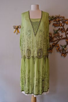 Would have killed to have this as my wedding dress.  Reserved///20s Dress / 1920s Flapper Dress / Vintage 1920s ABSINTHE Green Beaded Dress with Rhinestones Size M L