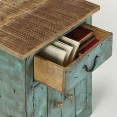 Kave Home Mesita de noche Agua, en Madera - Azul,Natural Ideas Para, Wood Signs, Magazine Rack, Upcycle, Stool, Shelves, Rustic, Cabinet, Storage