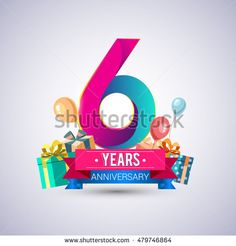 6 Years Anniversary celebration logo, with gift box and balloons, red and blue ribbon, Colorful Vector design template elements for your birthday party.