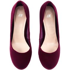 H&M Shoes (570 ARS) ❤ liked on Polyvore featuring shoes, pumps, flats, sapatos, zapatos, burgundy, flat platform shoes, flat shoes, burgundy pumps and high heel platform pumps