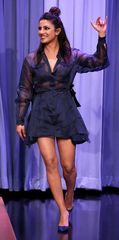 Priyanka Chopra appeared on The Tonight Show Starring Jimmy Fallon in a navy sheer dress geniusly layered over a pair of matching blue shorts. The actress finished the look with sharp pumps and the most radiant smile. Priyanka Chopra Wedding, Priyanka Chopra Hot, Parneeti Chopra, Indian Celebrities, Sheer Dress, Red Carpet Fashion, Indian Girls, Fashion Pictures, Sexy Legs