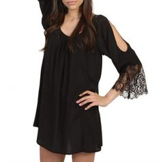 Cold-Shoulder Tunic with Lace Trim Sleeves