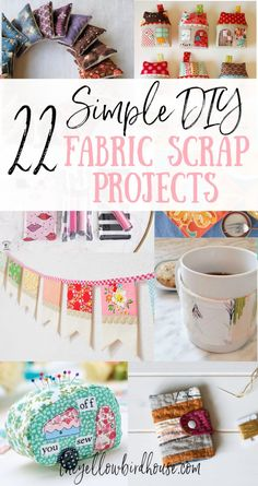 22 Simple DIY fabric scrap projects to make and give. Use up some of your pretty precious fabric scraps making these really sweet DIY sewing projects. Scrap Fabric Projects, Small Sewing Projects, Sewing Projects For Beginners, Fabric Scraps, Sewing Crafts, Simple Projects, Fabric Remnants, Easy Diy, Simple Diy