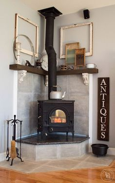 Terrific Absolutely Free corner Fireplace Hearth Thoughts A fireplace hearth i… – Freestanding fireplace wood burning Corner Wood Stove, Corner Fireplace Makeover, Fireplace Hearth, Home Decor, Comfy Living Room Decor, Furniture Arrangement, Stove Decor, Corner Stove, Fireplace Makeover