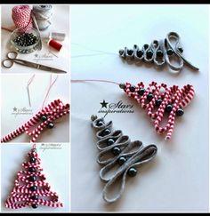 DIY Easy Ribbon Bead Christmas Tree Ornament Tutorial DIY Easy Ribbon Bead Christmas Tree Ornament tutorial with one ribbon and several beads to thread though an easy Christmas ornaments