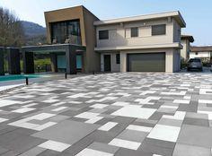 Backyard Patio Designs, Outdoor Flooring, Floor Design, Tile Floor, Landscape, Grande, Outdoor Decor, Driveways, Home Decor