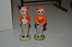 Vintage Pair Japan Miniature Bellhop Bellboy Door Man Salt Pepper Shaker RARE | eBay