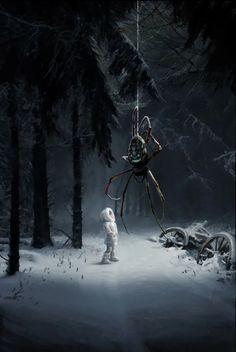 """Are you lost, child? Dark Fantasy Art, Fantasy Forest, Fantasy Artwork, Fantasy World, Dark Art, Arte Horror, Horror Art, Creepy Art, Scary"
