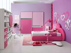 Bedroom Simple Ideas for Girls Bedroom Designs You Can Apply at Home: Teenage Girls Bedroom Decorating Ideas With Pink Single Bed With Heart Shaped Headboard Hearts Wall Sticker Bedroom Wall Decoration White Cube Storage Big Pink Wardrobe Arc Lamp Swivel Chair