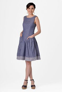 Polka dot Chambray Dress -Love! And this site is awesome. eShakti you can customize the dress to fit your body and preference.