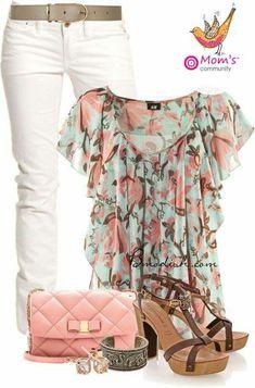 Rosa, verde, moda, estilo, fashion, primavera