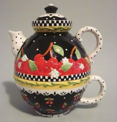 Mary Engelbreit Tea for One Teapot Cup Set Very Cherry Ceramic 2001 ME