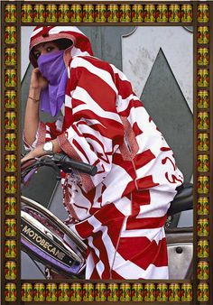 "Hassan Hajjaj documents the culture of Moroccan Women Bikers ~""Marrakesh is a city overrun with motorcycles, and female bikers are as common as male. Motorcycling is seen as a convenient form of transportation. Not so in the States, where being a ""biker chick"" still has a certain taboo. Hajjaj's approach is to toy with the perceptions of Arabic culture and the relationship between East and West, recasting iconic images and allowing shafts of 21st-century light to reenergize the encounter"""