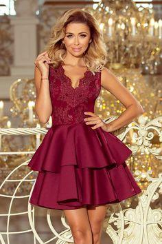 856a1d63d20b Exclusive Burgundy embroidery Lace V Neckline Sleeveless Flared Mini Dress.  Dámské Módní ŠatyVýšivkaSpolečenské ...