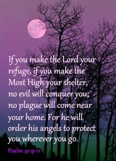 "Psalm 91:9-11 - ""If you make the Lord your refuge, if you make the Most High your shelter, no evil will conquer you; no plague will come near your home.  For he will order his angels to protect you wherever you go."""