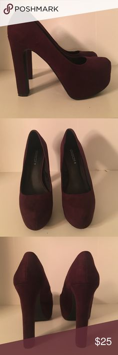 Dark Plum Pumps Only worn once!!! These dark plum pumps are gorgeous!!! I hate to part with these shoes but they are just too tall. Excellent condition and true to size! H&M Shoes Heels