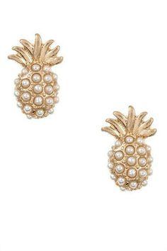 Pineapple Pearl Stud Earrings: Gold