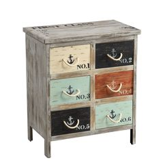 Instantly bring the outdoors in with this Nautical Multicolor Accent Chest from Michael Anthony Furniture. It features 6 drawers with rope handles and nautical decals, sure to complement any home or vacation property! Shop the chest here: http://mafurn.com/a/68oJj0Kf