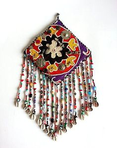 Wallhaning Amulet vintage Suzani Art with Silver plated metals