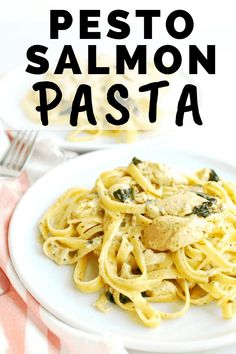 Looking for canned salmon recipes? You'll love this pesto salmon pasta! It's made with simple ingredients and is quick to throw together, but has amazing flavor. It's a pesto pasta recipe the whole family will love. #salmon #pasta #pesto Canned Salmon Salad, Canned Salmon Recipes, Pesto Pasta Recipes, Fish Recipes, Seafood Recipes, Pesto Salmon, Salmon Pasta, Salmon Dishes, Fish Dishes