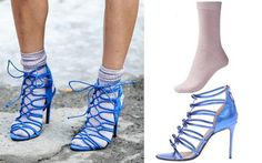 Cobalt Strappy Sandal + Lilac Sock