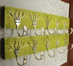 2 GO GREEN Stained 5 Funky Forks Coat Racks OH Yeah. $120.00, via Etsy.