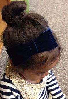 Large Navy Blue Velvet Fall / Holiday Hair Bow by MiShaMeDesigns, $10.00