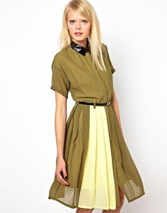 Antipodium Template Shirt Dress With Leather Patent Collar