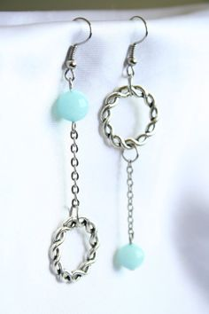 Asymmetrical Earrings with Amazonite Stone and Ring by ConceptAna, $16.00