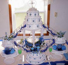 wedding cakes with fountains | blue fountain wedding cake