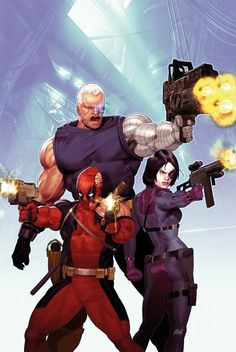 Deadpool, Cable, and Domino by Ariel Olivetti *