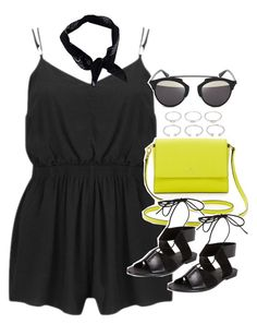 """Outfit for summer with a playsuit"" by ferned ❤ liked on Polyvore featuring Forever 21, MINKPINK, Kate Spade, Alexander Wang, Christian Dior and Boohoo"