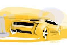 lamborghini by jan bujnak at Coroflot.com. The use of green is subtle and wonderful, should learn from this drawing.
