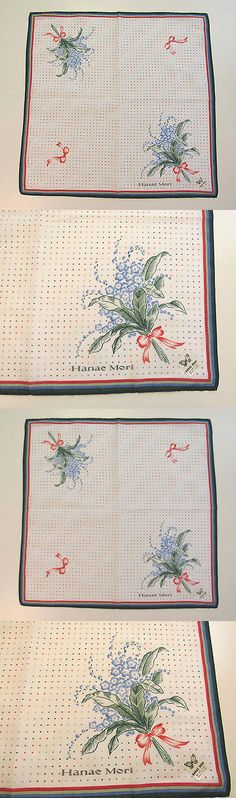 Handkerchiefs 167906: 2002 Signed Hanae Mori Handkerchief Polka Dots Bows Flowers -> BUY IT NOW ONLY: $35.96 on eBay!