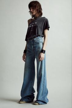 Shop the Wide Leg - Holly and other women's designer jeans from Denim. Punk Outfits, Grunge Outfits, Fashion Outfits, Scene Outfits, Rebel Fashion, Girl Fashion, Women's Grunge Fashion, 80s Punk Fashion, Rock Fashion